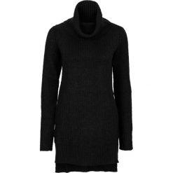 Golfy damskie: Długi sweter dzianinowy bonprix czarny
