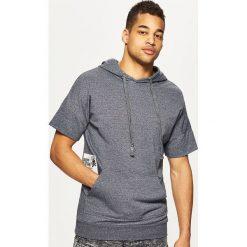 Bluzy męskie: Bluza kangurka z krótkim rękawem - Jasny szary