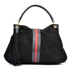 Torebki klasyczne damskie: Skórzana torebka w kolorze czarnym – (S)30 x (W)44 x (G)15 cm