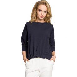PHOENIX Bluza z gumką z przodu - granatowa. Czarne bluzy rozpinane damskie Moe, s, z dzianiny, z krótkim rękawem, krótkie. Za 109,00 zł.