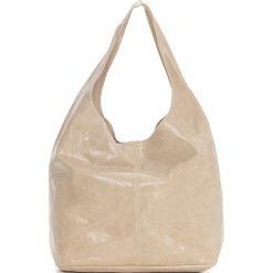 Torebki klasyczne damskie: Skórzana torebka w kolorze beżowym – 30 x 35 x 15 cm