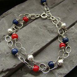 Koral i lapis lazuli - bransoletka. Czerwone bransoletki damskie na nogę marki Pakamera. Za 129,00 zł.