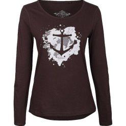 Koszulka w kolorze brązowym. Brązowe bluzki z odkrytymi ramionami Dreimaster, xs, z nadrukiem, z bawełny, z okrągłym kołnierzem. W wyprzedaży za 85,95 zł.
