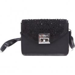 Skórzana torebka w kolorze czarnym - (S)17 x (W)13 x (G)8 cm. Czarne torebki klasyczne damskie Tosca Blu, w paski, z materiału. W wyprzedaży za 239,95 zł.