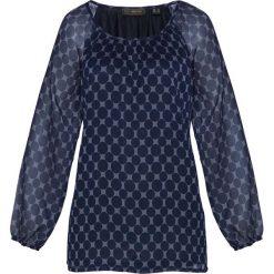 Bluzka bonprix ciemnoniebiesko-niebieski wzorzysty. Niebieskie bluzki asymetryczne bonprix, w grochy, z okrągłym kołnierzem, z długim rękawem. Za 74,99 zł.