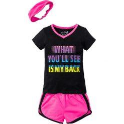 Shirt + szorty + bandana (3 części) bonprix czarno-różowy neonowy. Czarne spodenki dziewczęce marki bonprix, w paski, z dresówki. Za 59,99 zł.