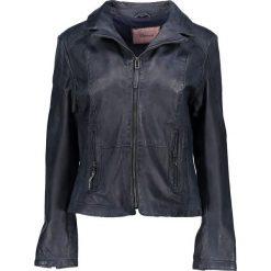 Bomberki damskie: Skórzana kurtka w kolorze granatowym