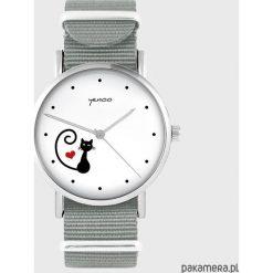 Zegarek - Kotek, serce - szary. Szare zegarki damskie Pakamera. Za 129,00 zł.