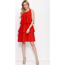 Czerwona Sukienka z Falbankami bez Rękawów. Czerwone sukienki na komunię marki Mohito, l, z materiału, z falbankami. Za 145,90 zł.
