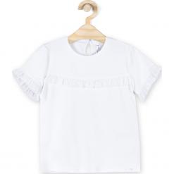 Koszulka. Białe bluzki dziewczęce bawełniane BACK TO SCHOOL GIRL, z falbankami, z krótkim rękawem. Za 44,90 zł.