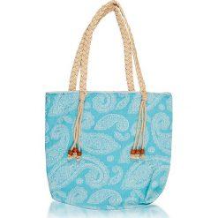 """Torba plażowa """"Paisley"""" w kolorze błękitnym - 40 x 50 cm. Niebieskie shopper bag damskie Begonville, paisley, z bawełny. W wyprzedaży za 108,95 zł."""