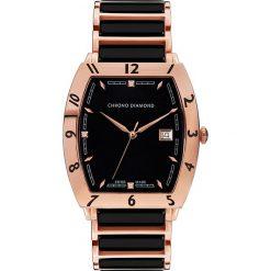 """Zegarki męskie: Zegarek kwarcowy """"Leandro"""" w kolorze różowozłoto-czarnym"""