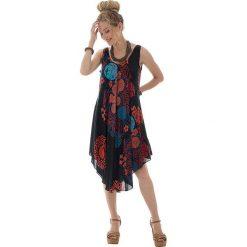 Odzież damska: Sukienka w kolorze czarno-pomarańczowo-turkusowym