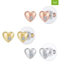 Kolczyki damskie: Pozłacane kolczyki-wkrętki (3 pary) z kryształkami