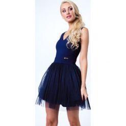Sukienki: Sukienka z tiulem granatowa G5082