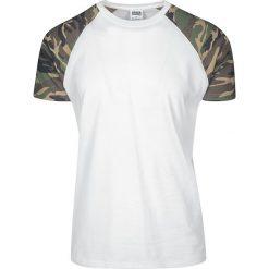 T-shirty męskie: Urban Classics Raglan Contrast Tee T-Shirt biały/kamuflaż Wood Camo