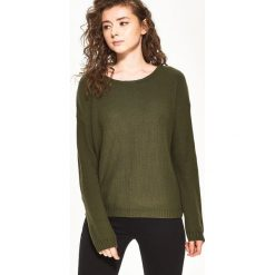 Swetry klasyczne damskie: Sweter z wiązaniem na plecach – Khaki