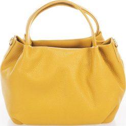 Torebki klasyczne damskie: Skórzana torebka w kolorze żółtym – 28 x 25 x 18 cm