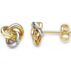 Złote kolczyki-wkrętki. Szare kolczyki damskie REVONI, złote. W wyprzedaży za 301,95 zł.
