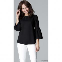 Bluzka L010 czarny. Czarne bluzki wizytowe marki Pakamera, l, eleganckie, z falbankami. Za 119,00 zł.