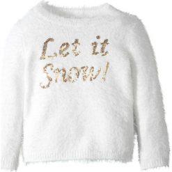 Sweter z puszystej przędzy, z cekinami bonprix biel wełny - złoty. Białe swetry dziewczęce marki bonprix, z wełny. Za 24,99 zł.