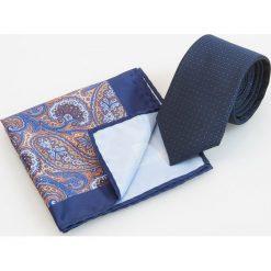 Krawaty męskie: Zestaw: krawat i poszetka - Granatowy