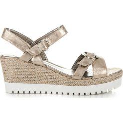Rzymianki damskie: Złote sandałki espadryle SHERRY