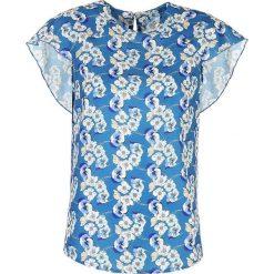 Elegancka Wizytowa Bluzka z Falbankami w Kwiaty. Czerwone bluzki nietoperze marki Molly.pl, l, z jeansu, biznesowe, z dekoltem na plecach, z długim rękawem. Za 121,90 zł.