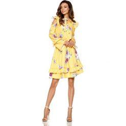 Żółta Wzorzysta Sukienka w Kwiaty z Falbankami Typu Cold Shoulder. Żółte sukienki na komunię Molly.pl, na co dzień, l, w kwiaty, z tkaniny, z falbankami. Za 208,90 zł.