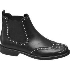 Botki damskie Graceland czarne. Czarne botki damskie na obcasie marki Graceland, w kolorowe wzory, z materiału. Za 159,90 zł.