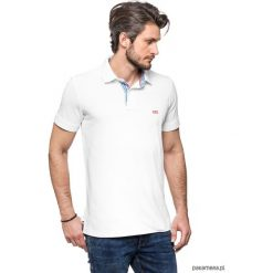 Koszulki męskie: Koszulka polo biała z kratką