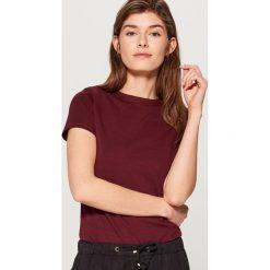 T-shirty damskie: Bawełniana koszulka basic - Bordowy