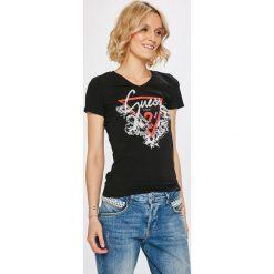 Guess Jeans - Top. Szare topy damskie Guess Jeans, l, z aplikacjami, z bawełny. Za 139,90 zł.