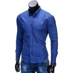 KOSZULA MĘSKA ELEGANCKA Z DŁUGIM RĘKAWEM K219 - GRANATOWA. Brązowe koszule męskie na spinki marki Ombre Clothing, m, z aplikacjami, z kontrastowym kołnierzykiem, z długim rękawem. Za 49,00 zł.