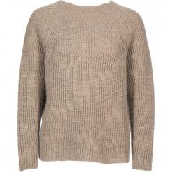 Sweter w kolorze beżowym. Brązowe swetry klasyczne damskie Gottardi, s, prążkowane, z okrągłym kołnierzem. W wyprzedaży za 173,95 zł.