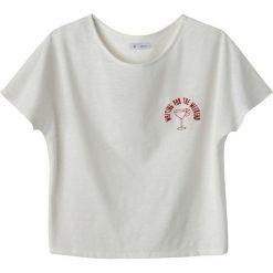 Gładka koszulka z okrągłym wycięciem szyi i krótkim rękawem. Szare bluzki z odkrytymi ramionami marki La Redoute Collections, m, z bawełny, z kapturem. Za 49,10 zł.