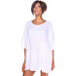 Bluzki damskie: Lniana koszulka w kolorze białym