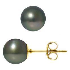 Kolczyki damskie: Kolczyki-wkrętki w kolorze tahiti z perłami