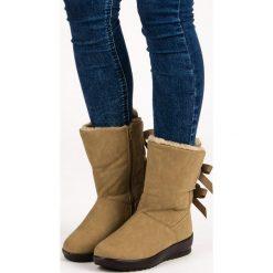 AMAYA ciepłe śniegowce na suwak zielone. Białe buty zimowe damskie marki Merg. Za 79,00 zł.