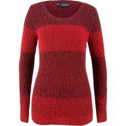 Sweter bonprix truskawkowy melanż w paski. Czerwone swetry klasyczne damskie marki bonprix. Za 74,99 zł.