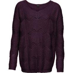 Sweter dzianinowy z dekoltem w serek bonprix czarny bez. Fioletowe swetry klasyczne damskie marki DOMYOS, l, z bawełny. Za 89,99 zł.
