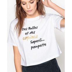 Koszulka ze świątecznym tekstem. Szare bluzki z odkrytymi ramionami marki La Redoute Collections, m, z bawełny, z kapturem. Za 37,76 zł.