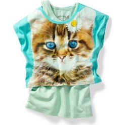 """Shirt """"boxy"""" + top (2 części) bonprix jasna limonka - zielony oceaniczny kot. Brązowe bluzki dziewczęce marki SOLOGNAC, z bawełny. Za 27,99 zł."""