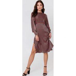 Sukienki: MANGO Sukienka midi w paski - Pink