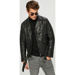 Pepe Jeans - Kurtka skórzana Wharf. Czarne kurtki męskie bomber Pepe Jeans, l, z jeansu. W wyprzedaży za 899,90 zł.