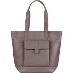 Shopper bag damskie: Skórzany shopper bag w kolorze szarym – 42 x 34 x 11 cm