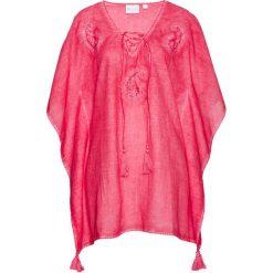 Tunika bonprix różowy hibiskus. Czerwone tuniki damskie bonprix, z dekoltem w serek. Za 44,99 zł.