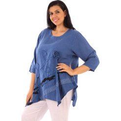 T-shirty damskie: Lniana koszulka w kolorze niebieskim