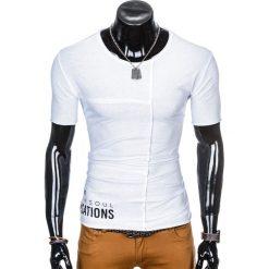 T-SHIRT MĘSKI Z NADRUKIEM S979 - BIAŁY. Białe t-shirty męskie marki Ombre Clothing, m, z nadrukiem. Za 29,00 zł.