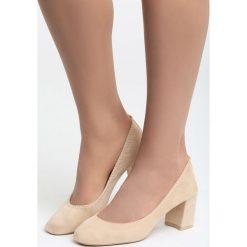 Beżowe Czółenka Morana. Brązowe buty ślubne damskie Born2be, ze skóry, z okrągłym noskiem, na słupku. Za 49,99 zł.